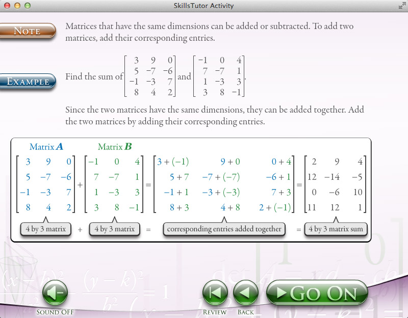 Algebra 2 Adding and Subtracting Matrices