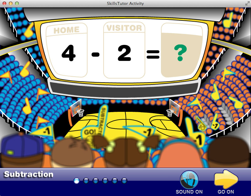 Math Fact Fluency Basketball Game Scene Practice