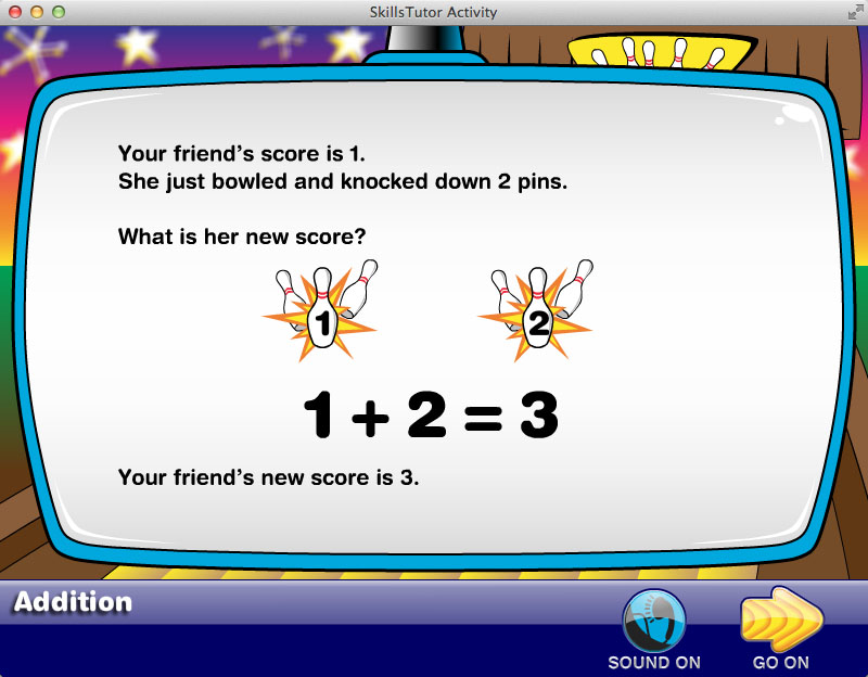 Math Fact Fluency Bowling Alley Scene Facts Explanation