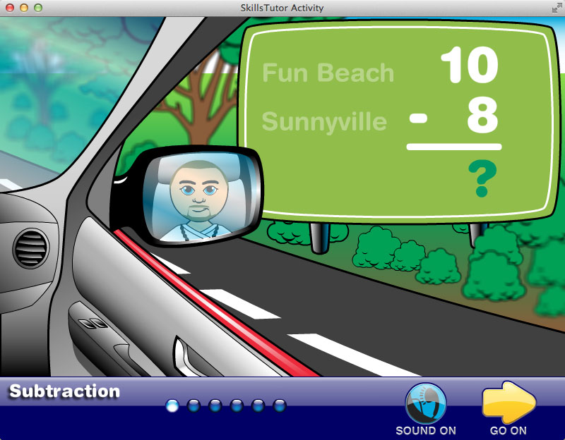Math Fact Fluency Beach Car Trip Scene Practice