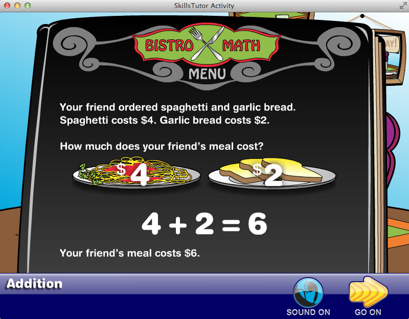 Math Fact Fluency Restaurant Scene Facts Explanation
